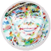 Jean Renoir Watercolor Portrait Round Beach Towel