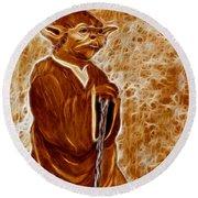Jedi Master Yoda Digital From Original Coffee Painting Round Beach Towel