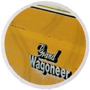Jeep Grand Wagoneer Side Emblem Round Beach Towel