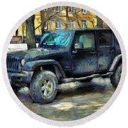 Jeep Wrangler Round Beach Towel
