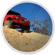 Jeepin' The Mojave Round Beach Towel