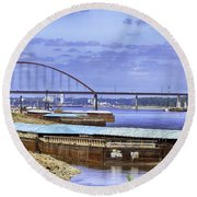 Jefferson Barracks Bridge A View From Cliff Cave Round Beach Towel