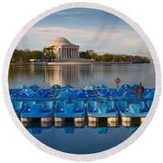 Jefferson Memorial And Paddle Boats Round Beach Towel