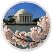 Jefferson Memorial Cherry Trees Round Beach Towel