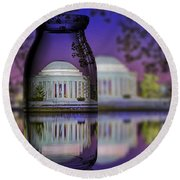 Jefferson Memorial In A Bottle Round Beach Towel