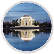 Washington Dc Jefferson Memorial In Blue Hour Round Beach Towel