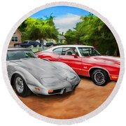 Jeffs Cars Corvette And 442 Olds Round Beach Towel