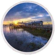 Jekyll Island Sunset Round Beach Towel by Debra and Dave Vanderlaan