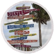 Jekyll Island Where To Go Round Beach Towel