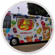 Jelly Belly On Wheels Round Beach Towel