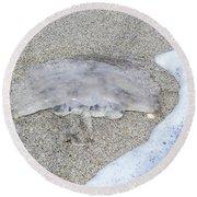 Jellyfish On The Sand Round Beach Towel