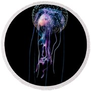 Jellyfish  Pelagia Noctiluca  With Fish Round Beach Towel