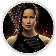 Jennifer Lawrence As Katniss Everdeen Round Beach Towel