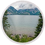 Jenny Lake In Grand Tetons National Park-wyoming  Round Beach Towel