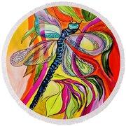 Jenny's Dragonfly In Acrylic Round Beach Towel