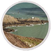 Jerbourg Point On Guernsey - 3 Round Beach Towel