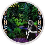 Jerry At Psychedelic Creek Round Beach Towel