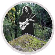 Jerry At The Pyramid In The Woods Round Beach Towel