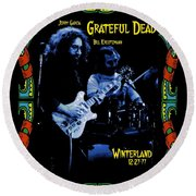 J G And B K At Winterland In 1977 Round Beach Towel
