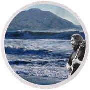 Jerry Garcia At Mt Tamalpaisland 3 Round Beach Towel
