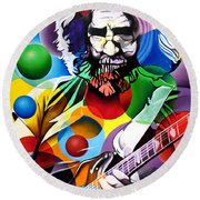 Jerry Garcia In Bubbles Round Beach Towel