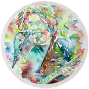 Jerry Garcia Playing The Guitar Watercolor Portrait.2 Round Beach Towel