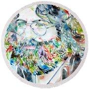 Jerry Garcia Watercolor Portrait.2 Round Beach Towel