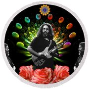 Jerry Spacepods Triple Jerry Ufo Roses Under Cosmic Sun Round Beach Towel
