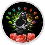 Jerry Spacepods Ufo Roses 1 Round Beach Towel
