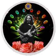Jerry Spacepods Ufo Roses Under Cosmic Sun Round Beach Towel