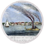 Jersey City, 1844 Round Beach Towel