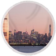 Jersey City And New York City  With Manhattan Skyline Over Hudso Round Beach Towel