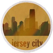 Jersey City New Jersey City Skyline Watercolor On Parchment Round Beach Towel