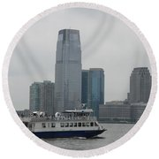 Jersey City Skyline Round Beach Towel