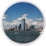 Jersey City Skyline From Harbor Round Beach Towel