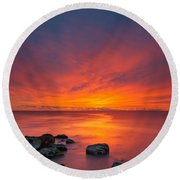 Jersey Shores Fire In The Sky Version 2 Round Beach Towel