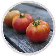 Jersey Tomatoes  Round Beach Towel