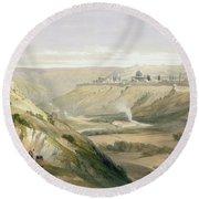 Jerusalem April 5th 1839 Round Beach Towel by David Roberts