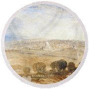 Jerusalem From The Mount Of Olives Round Beach Towel by Joseph Mallord William Turner