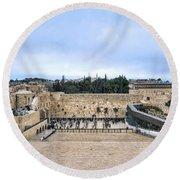Jerusalem The Western Wall Round Beach Towel