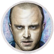 Jesse Pinkman - Breaking Bad Round Beach Towel by Olga Shvartsur