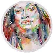 Jessye Norman - Watercolor Portrait Round Beach Towel