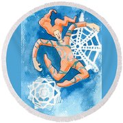 Jester With Snowflakes Round Beach Towel