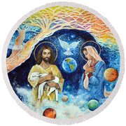 Jesus And Mary Cloud Colored Christ Come Round Beach Towel