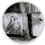 Jesus And The Gangster Round Beach Towel