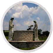 Jesus And The Woman At The Well Cemetery Statues Round Beach Towel