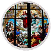 Jesus Angels Stained Glass Painting Inside Cologne Cathedral Germany Round Beach Towel