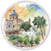 Jesus By Palermo Cathedral Round Beach Towel