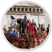 Jesus Christ And Roman Soldiers On Procession Round Beach Towel