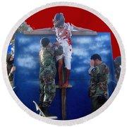 Jesus Christ Float 60th Anniversary Of The Landing On Iwo Jima In Ww2 Sacaton Arizona 2005 Round Beach Towel